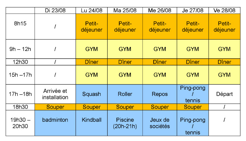 La Nivelloise Gymnsatique_Stage Blocry_Planning 2015